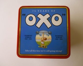 vintage OXO Decorative TIN -  red, blue, Made in England