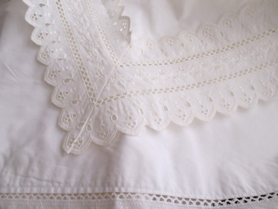 White Cotton Eyelet Pillow SHAM shabby chic