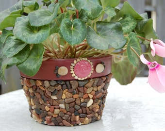 Mosaic Flower Pot  Planter on Terracotta