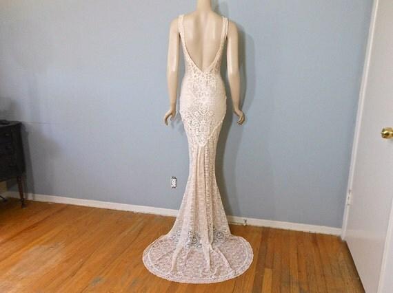 Boho Mermaid Wedding Dress Peach LACE Wedding DRESS Plunging