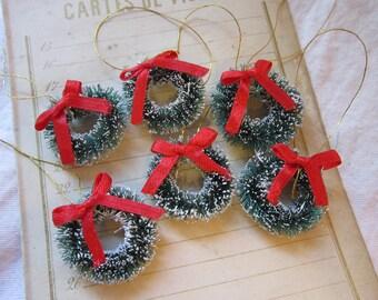 6 miniature sisal wreaths - bottlebrush wreaths - 1 inch
