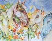 4 Seasons Horses Large Art print 10x15 inches Spring Summer Fall and WInter HOrses Art watercolor