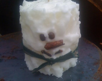 Scented Snowman Cake Candle - Pillar - Chubby - Handmade - Only 14.99