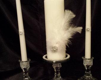 Bling Wedding Unity Candle Holder Set of 3