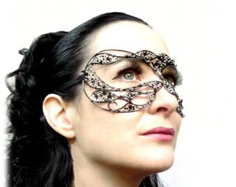 Black and silver masquerade ball mask, halloween mask, costume, accessories, handmade mask,venetian mask
