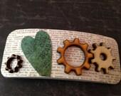 Gear Heart and Wooden Gears Steampunk Barrette