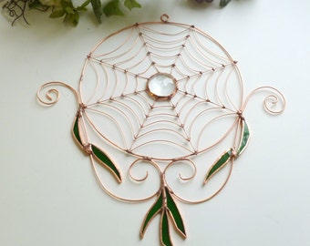 Round Copper Wire Spider Web With Stained Glass Leaves Custom One of a Kind Window Decor Sun Catcher Wall Hanging