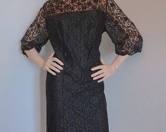 Vintage 60s Mod Black Lace Dress with Sheer Illusion Sleeves- Medium Large