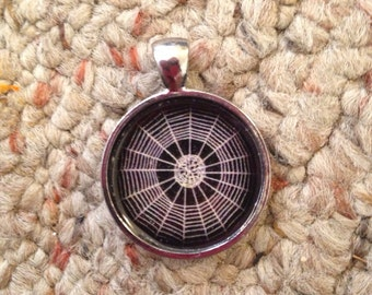 Spider Web Image Pendant Necklace-FREE SHIPPING-
