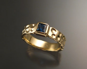 Sapphire Moonscape Wedding ring 14k Yellow Gold bezel set ring size 8