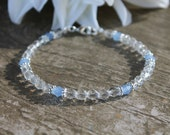 Clear Beaded Anklet with Baby Blue Crystals / Beaded Anklet / Czech Glass / Faceted Beads / Beaded Jewelry