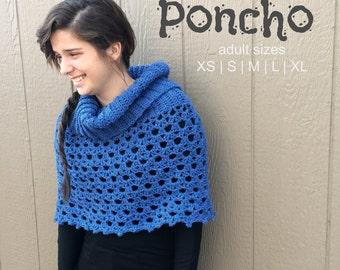 PDF Crochet Pattern - Pistachio Poncho Pullover Cowl Neck Women Teen Girl Fall Layer