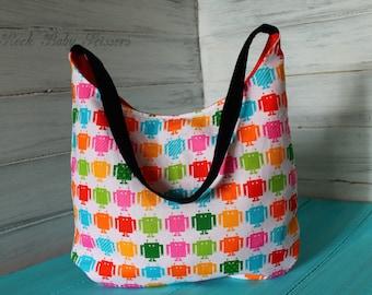 Funbots Hobo Bag with orange canvas lining