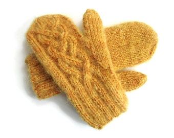 Mittens Knit Gold Wool Mohair Cabled Gloves Womans Winter Fuzzy Mittens One Size Knit Hand Warmers Celtic Cable Mittens