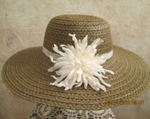 Women's Brown Straw Hat with Ivory Flower - Women's Tea Hat - Women's Garden Hat