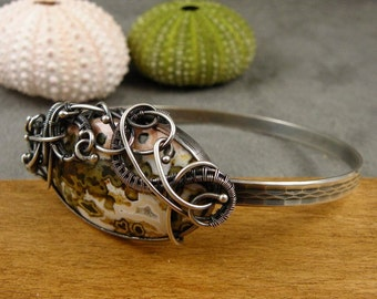 SALE 40% off Bangle silver bracelet , jasper bracelet , wirework jewelry , March birthstone jewelry