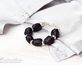 Black fabric bead bracelet textile bracelet office