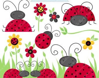 Lovely Ladybugs Cute Digital Clipart - Commercial Use OK - Digital Ladybug Graphics - Ladybug Clipart