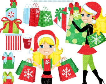 Christmas Shopping Spree Blonde Cute Digital Clipart, Commercial Use OK, Woman Shopping Clipart, Shopping Graphics