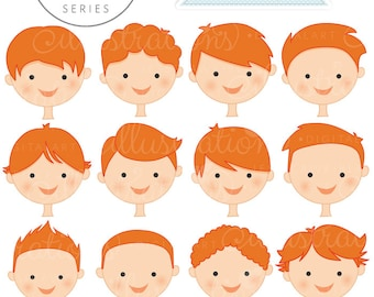 Auburn Boy Faces - Create A Character Series - Cute Digital Clipart - Commercial Use OK - Mix & Match Sets to Create Your Own Character