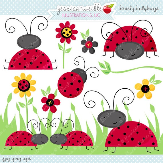 Lovely Ladybugs Cute Digital Clipart - Commercial Use OK - Digital ...