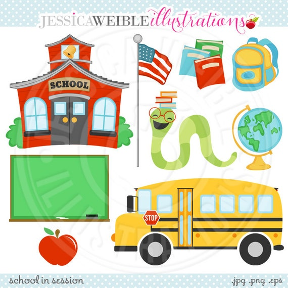 School in Session Cute Digital Clipart - Commercial Use OK - School House Graphics - School Bus Clipart