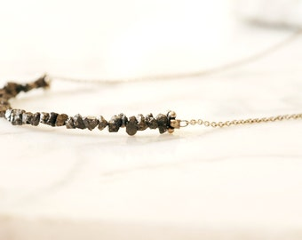 OOAK - Black diamond necklace, Sterling necklace with rough diamonds