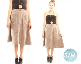 WRAPPED 70s Sweet Retro Tweed Earthy High Waist Autumn Back to School Boho Wrap Skirt Small