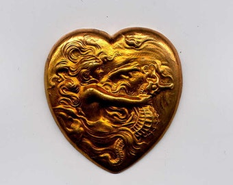4 Heart with Mermaid and Seahorse Brass Metal Stampings