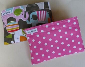 Reusable Snack Bag Set of Two Eco Friendly Elephant Pink Polka Dots