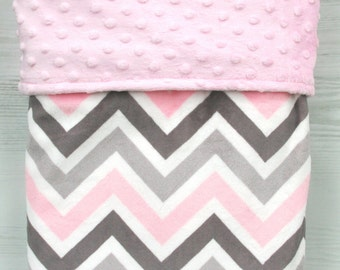 Minky Baby Blanket High-quality Pink and Grey Multi Chevron Minky Baby Blanket, Baby Shower, Baby Gift, Newborn, Bedding, Security Blanket