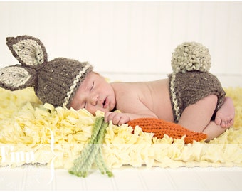 Baby Bunny Hat, Newborn Photo Prop Set, Barley Brown Oatmeal, Biscuit, Pink, Custom Colors, Easter Rabbit, Infant Hat, Diaper Cover CARROT