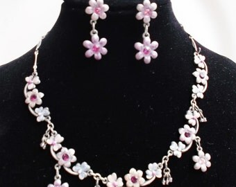 delicate enamel flowers vintage necklace and earrings set parure jewelry