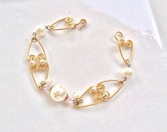 vintage pearls and golden swirls links bracelet handmade jewelry