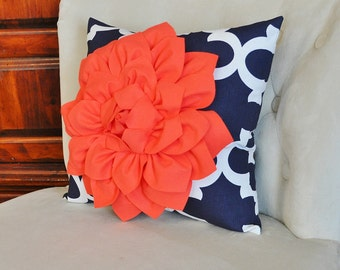 Coral Dahlia on Navy and White Moroccan Print Pillow -Moroccan Decorative Pillow-