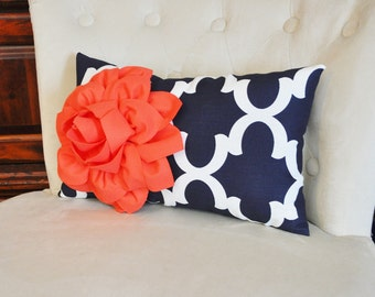Decorative Throw Pillow -- Coral Flower on Navy and White Moroccan Lumbar Pillow