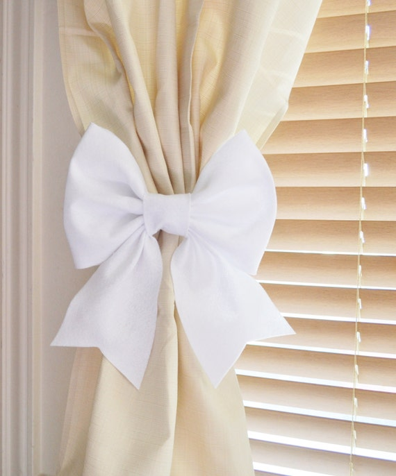 TWO WHITE BOW Curtain Tie Backs. Decorative Tiebacks Curtain Holdback ...