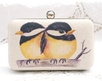 Love Birds On Branch Box Clutch Hand Dyed Yellow Black Beige Shoulder Bag Party Clutch Ivory Linen Bridesmaid Bridal Wedding Gift Minaudiere