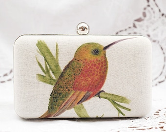 Hummingbird On Bamboo Box Clutch Hand Dyed Red Green Beige Vintage Chain Bag Clutch Ivory Linen Bridesmaid Bridal Wedding Gift Minaudiere