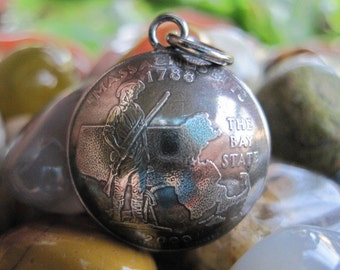 Domed Antiqued Massachusetts Quarter Pendant with Handmade Sterling Silver Bail MADE TO ORDER.