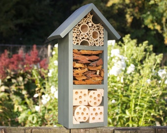 Bee and Insect Hotel, three tier, in 'Wild Thyme'. Can be personalised.