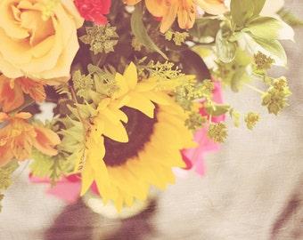 sunflower photography, floral office art, sunflower print, photography flower, yellow floral art, yellow wall art, floral living room art
