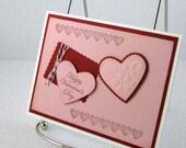 Valentines Day Card Handmade Pink Hearts Valentine Red Heart Love