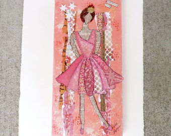 Ballerina Original Collage Mixed Media 6x12 inches  Life is a Dance