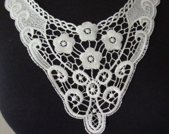 China embroidery white lace applique patch neck collar decoration