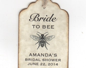 50 Bridal Shower Favor Gift Tags, Bride To BEE Honey Jar Labels Tags, Personalized - Vintage Style