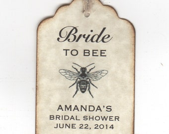 50 Bridal Shower Favor Personalized Tags, Bride To BEE Honey Jar Label Tags - Vintage Style