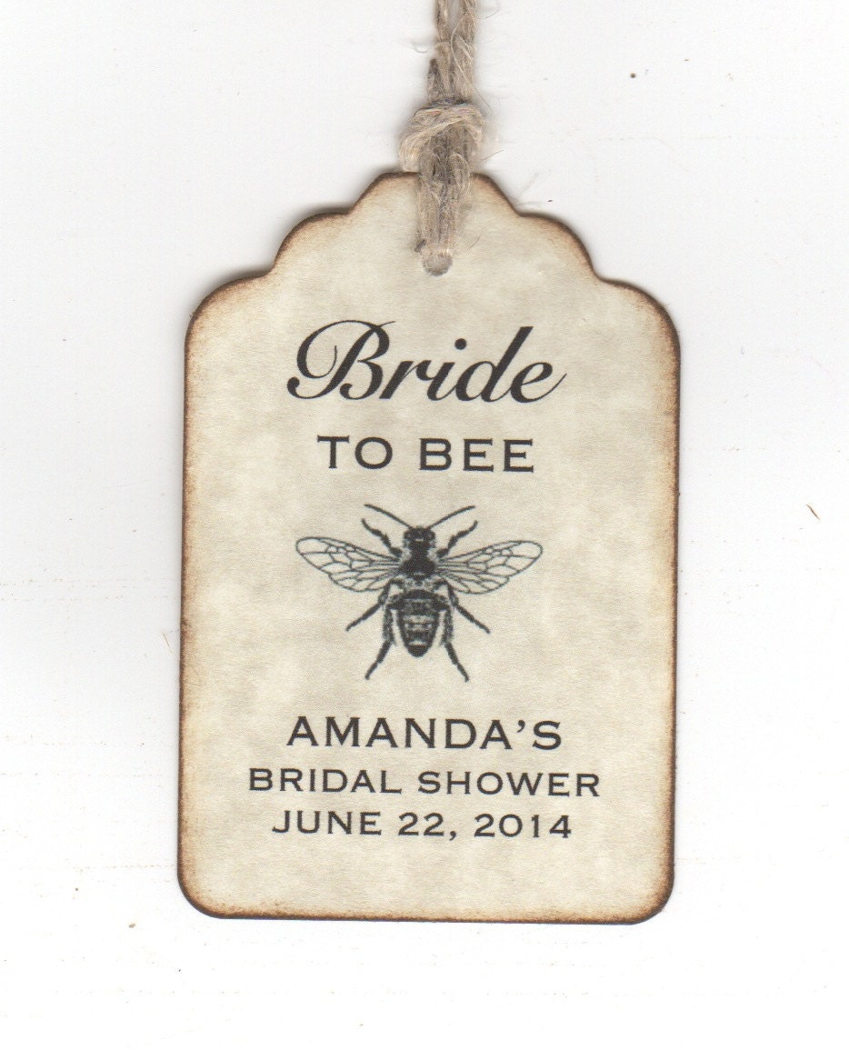 50 bridal shower favor personalized tags bride to bee honey for Shower favor tag
