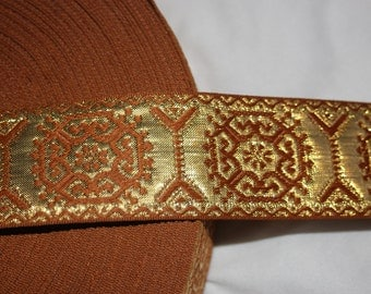 "2 yards Bronze Gold reversible JACQUARD Brocade woven sewing craft ribbon Trim 1.5"" wide"
