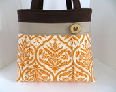 Orange Damask Print Pleated A-Line Bag - Orange Brown Fabric Handbag - Diaper Bag - Rustic Tote Bag Wood Tree Branch Button - Spring Purse